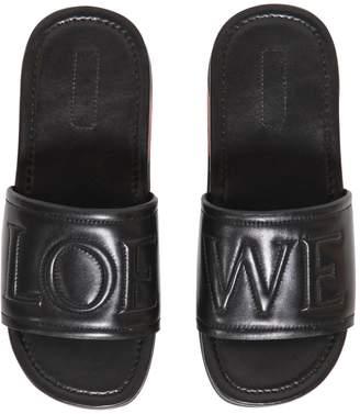 Loewe Logo Embossed Leather Slide Sandals