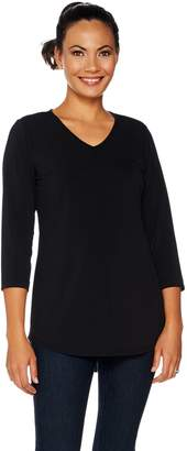 Joan Rivers Classics Collection Joan Rivers Jersey Knit 3/4 Sleeve Top with Shirt Tail Hem