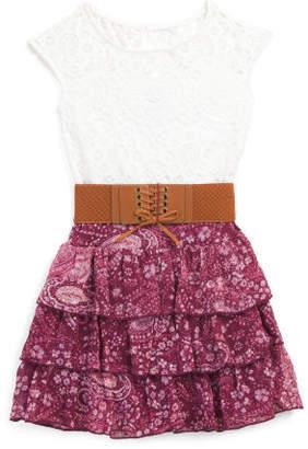 Big Girls Lace Tiered Chiffon Dress
