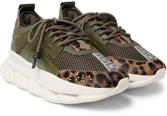 Versace Chain Reaction Panelled Mesh Sneakers - Men - Army green