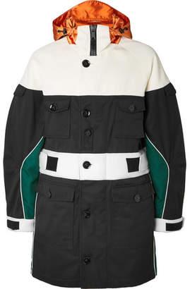 Valentino Colour-Block Satin And Neoprene-Trimmed Gabardine Hooded Coat