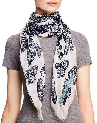 Zadig & Voltaire Kerry Butterfly Skull Print Scarf