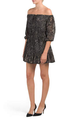 Juniors Off The Shoulder Westerly Burnout Velvet Dress
