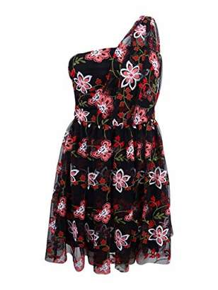 BCBGeneration Women's One Shoulder Embroidered Tutu Dress