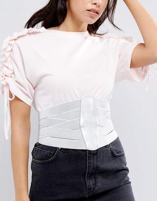 Asos DESIGN Metallic Multi Elastic Strap Wide Corset Belt