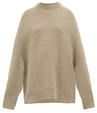 Raey Crew Neck Basketweave Wool Sweater - Womens - Beige