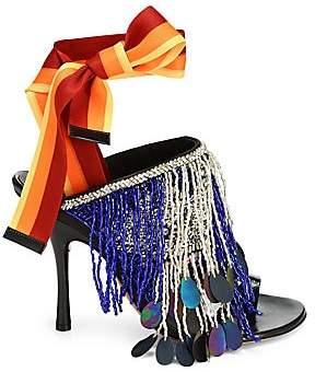 Dries Van Noten Women's Beaded Leather Stiletto Sandals