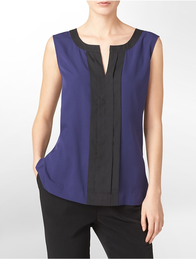 Calvin Klein Colorblock Pleated Front Shell Sleeveless Top
