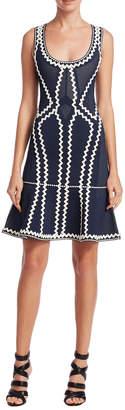 Herve Leger Issa Contrast A-Line Dress