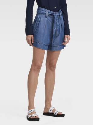 DKNY Chambray Belted Short