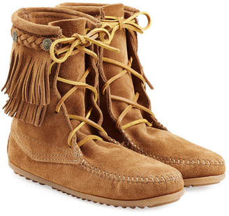 Minnetonka Double Fringe Tramper Suede Boots with Studs