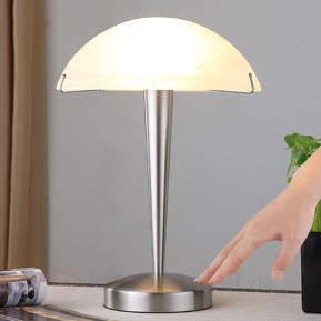 Schöne Tischlampe Viola, nickel matt