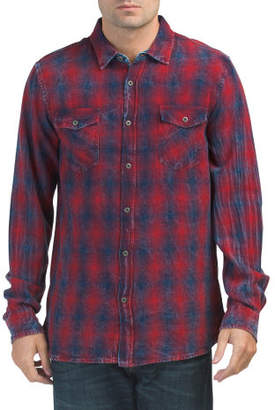 Long Sleeve Brushed Ombre Plaid Shirt