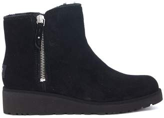 UGG Shala Black Suede Leather Ankle Boots With Double Slider Zip
