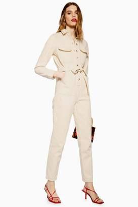 Topshop Cream Denim Boiler Suit