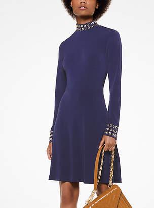 Michael Kors Grommeted Matte-Jersey Turtleneck Dress