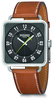 Hermes Carré H Watch, Stainless Steel & Leather Strap
