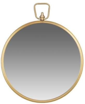 Patton Wall Decor Gold Round Wall Mirror with Decorative Handle