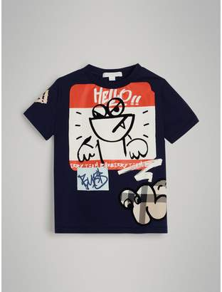 Burberry Childrens Graffiti Ticket Print Cotton T-shirt