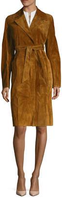 Celine Leather Belted Coat