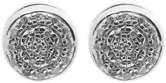 Monica Vinader Silver Fiji Mini Diamond Button Stud Earrings