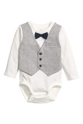H&M Bodysuit with Vest - White/light gray - Kids