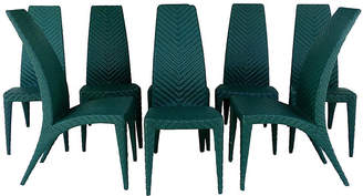 One Kings Lane Vintage Woven Leather Dining Chairs - Set of 8