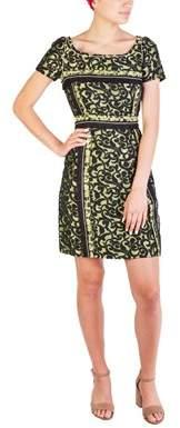 Prada Women's Cotton Nylon Blend Floral Print Dress Green.