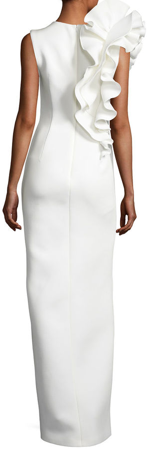 Jovani Sleeveless Ruffle-Trim Crepe Column Gown 5