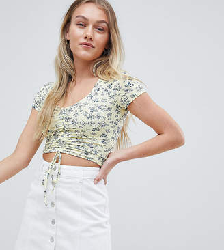 New Look Petite floral ruched front top in yellow