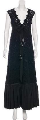 Alberta Ferretti Embroidered Wool-Blend Dress