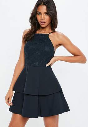Missguided 90s Neck Lace Frill Skater Dress