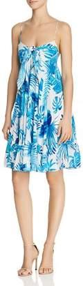 Rococo Sand Leaf-Print Silk Dress