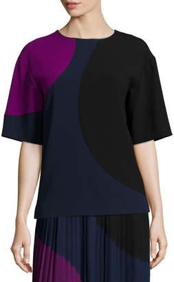 DKNY Short-Sleeve Colorblock Crop Shirt
