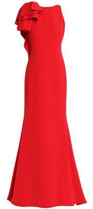 Badgley Mischka Ruffle-Trimmed Crepe Gown