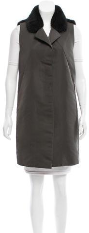 MarniMarni Fur-Trimmed Knee-Length Vest
