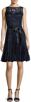 Rickie Freeman For Teri Jon Lace Overlay Cocktail Dress, Navy