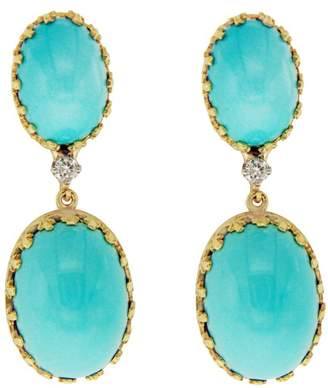 Cellino 18K Yellow Gold Diamond Blue Turquoise Earrings