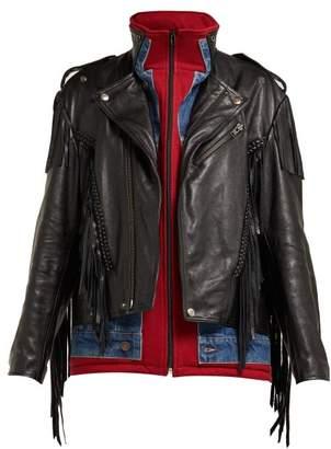 Balenciaga Layered Effect Fringed Leather Biker Jacket - Womens - Black Multi