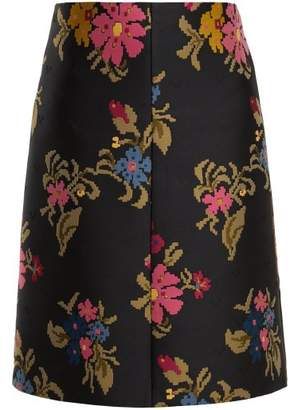 RED Valentino Pixelated Floral Jacquard A Line Skirt - Womens - Black Multi