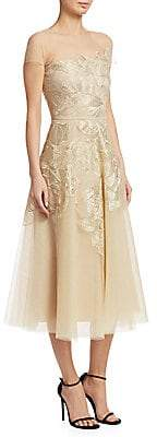 Ahluwalia Women's Floral Embroidered Tulle Dress