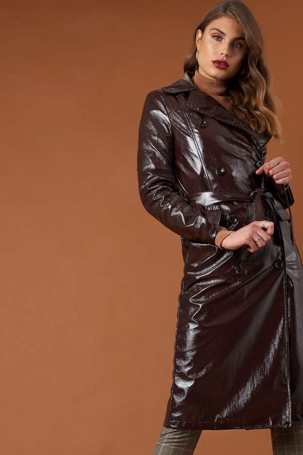 Belted Patent Jacket Dark Brown