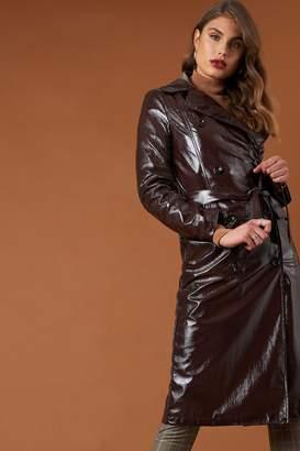 Na Kd Trend Belted Patent Jacket Dark Brown
