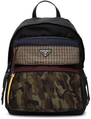 At Ssense Prada Black Camouflage Backpack