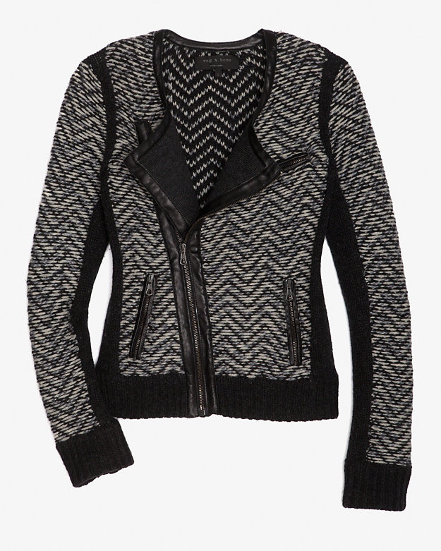 Rag & Bone Rag & Bone Samantha Leather Trim Tweed Cardi/jacket