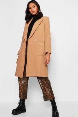boohoo Double Breasted Pocket Wool Look Coat