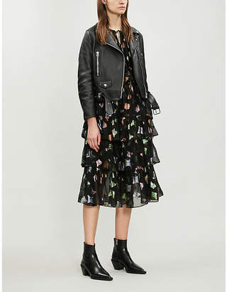 The Kooples Metallic butterfly print silk-chiffon dress
