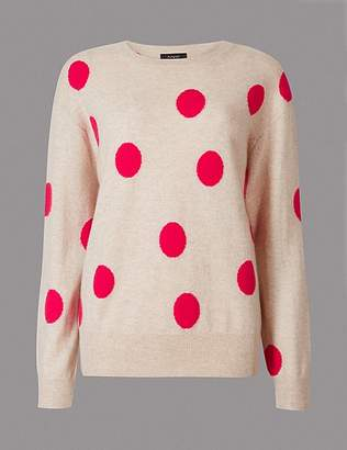 Marks and Spencer Pure Cashmere Spotted Oversized Jumper