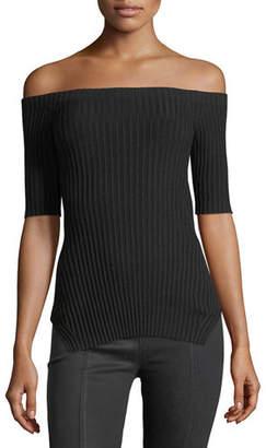 Helmut Lang Off-the-Shoulder Short-Sleeve Ribbed Silk Top