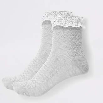 River Island Girls grey lace socks multipack